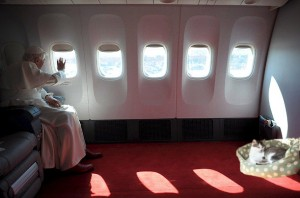 Pope Benedict in airplane