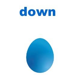egg with word down