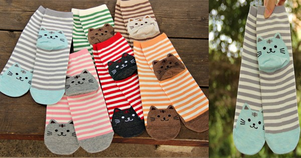 Cat's Meow Striped Socks  Triple T Studios