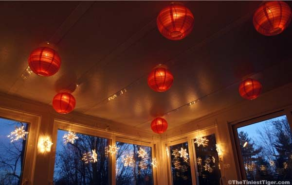 red lanterns in sunroom