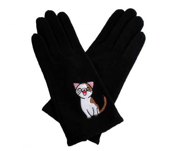 black Sweet Annie Cat Wool Gloves Triple T Studios