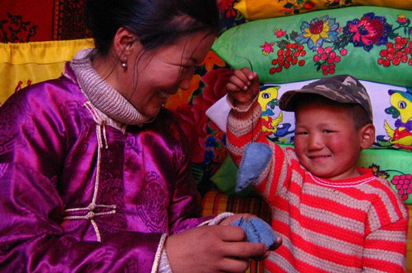 Mongolian Family making felted mice