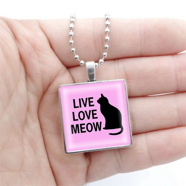 Live Love Meow Cat Necklace