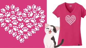 Cat Paw Heart T Shirt Giveaway