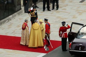 The Queen arrives at the Abbey for the wedding