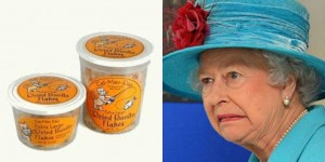 Queen showing disapproval for dried tuna flakes