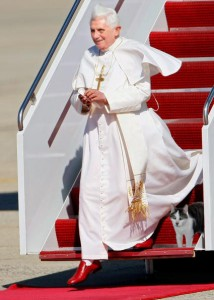Pope Benedict exiting airplane