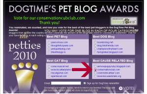 Hurrah! We are nominated for Best Cause Related Blog!