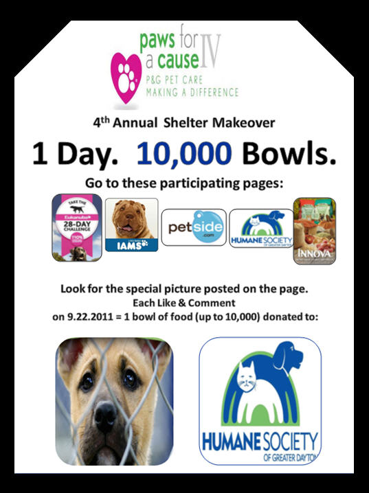 P&G's Paws for a Cause One Day 10,000 Bowls Donation!