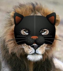 Lion Lesanju with cat mask