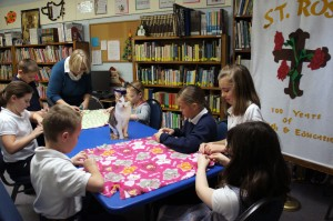 St. Rose School 3rd Grade making blankets