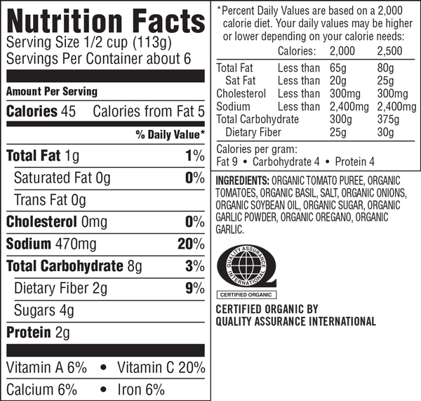 Wild Oats Tomato Basil Nutrition Facts