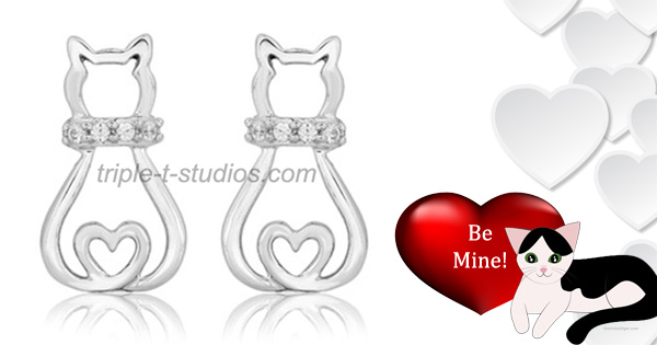 Triple T Studios Silver Cat Earrings with Heart Shaped Tail