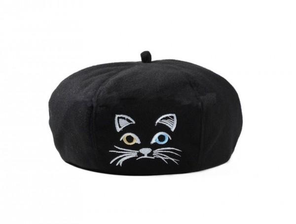 cat beret black