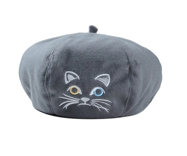 Gray cat beret