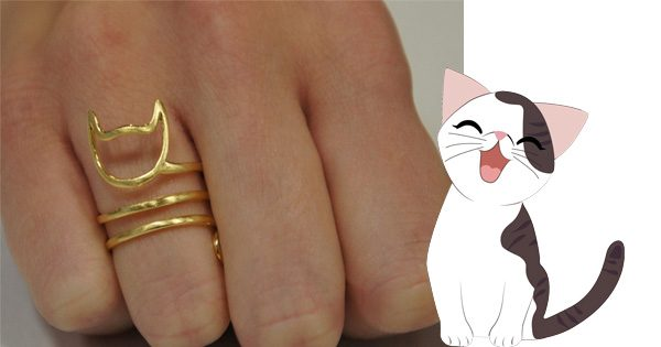 gold cat tail ring