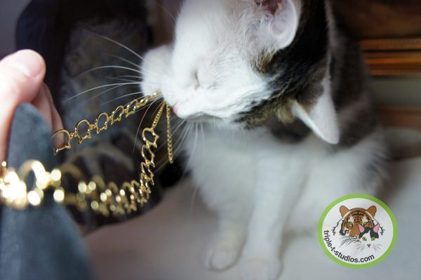 Annie playing with a necklace