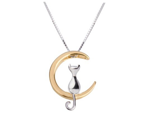 Cat Sitting on Moon Necklace