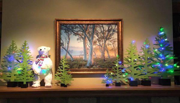 Christmas mantel trees