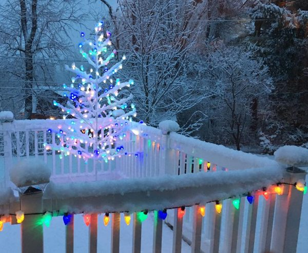 back deck with christmas lights