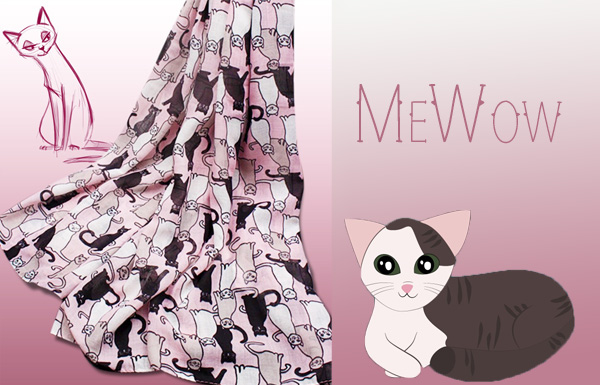 Pink Cat Scarf Triple T Studios