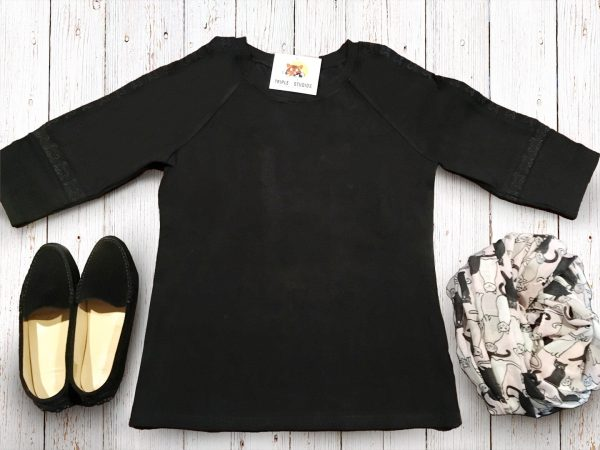 Black Cat Embroidered Tunic