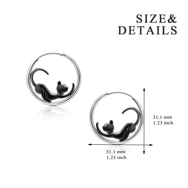 Black Cat hoop Earrings