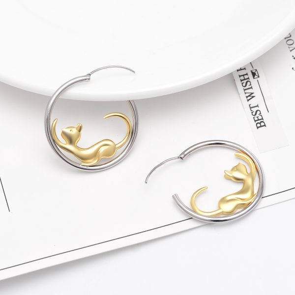 Gold Cat hoop earrings