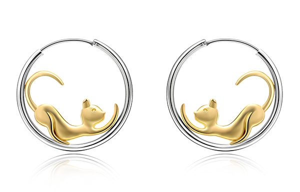 Gold Cat Hoop Earrings Triple T Studios