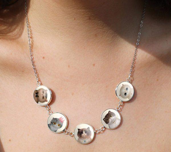 Cabochon Cat Necklace