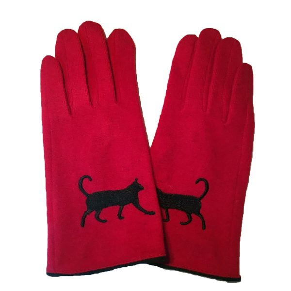 Triple T Studios Red Wool Cat gloves