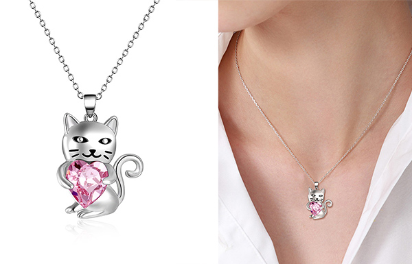 Crystal Heart Cat Necklace Giveaway