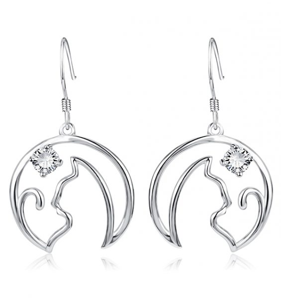 Sterling Silver Wire Cat Earring   Triple T Studios