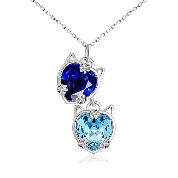 Siamese Blue Eyes Cat Charm Necklace