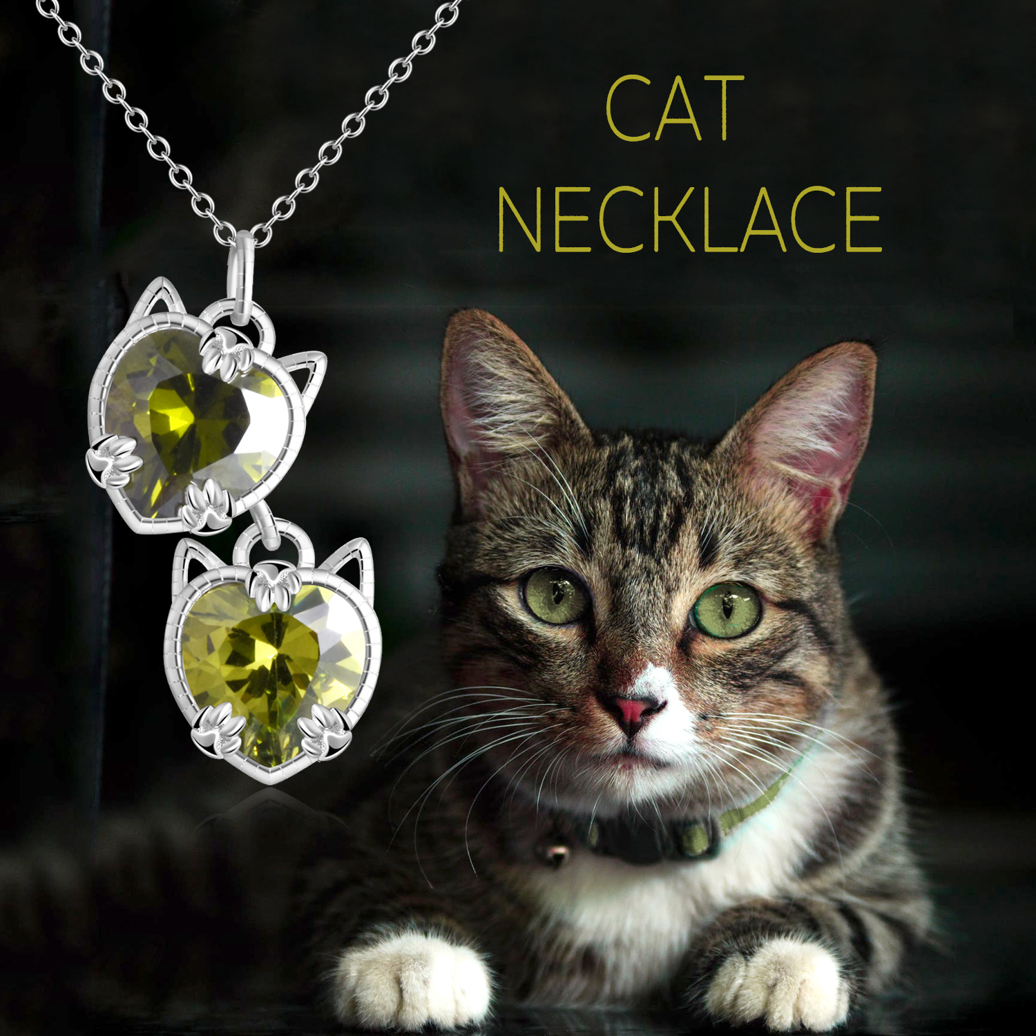 New! Crystal Cat Charm Necklace Giveaway