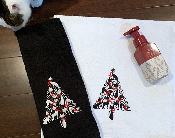 Holiday Cat Tree Hand Towels