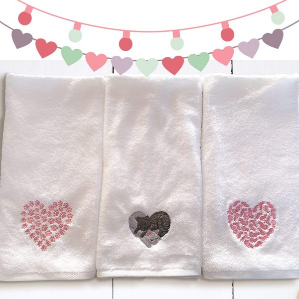 Cat Paw Heart, Cat Nap Heart and Cat Heart Design Towels
