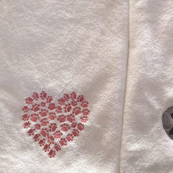 Cat Paw Heart Hand Towel