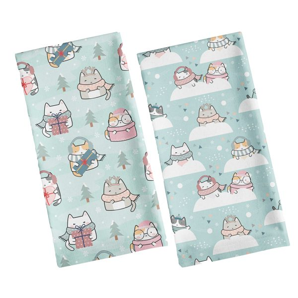 Cat Tea Towels. Holiday and Snowball